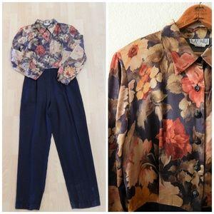 Vintage 90s Navy Gold High Waist Pants Jumpsuit